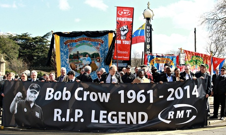 Bob Crow's funeral procession arrives at the City of London Cemetery