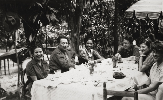 Frida and Diego with friends, Anonymous, c1945.