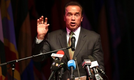 Former governor of California Arnold Schwarzenegger speaks during the opening ceremony of a conference on the green economy. Photograph: Louafi Larbi/Reuters