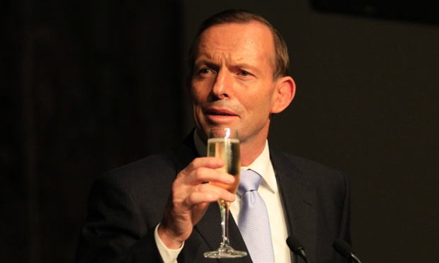 To empire. Prime Minister Tony Abbott offers a toast during a Parliamentary reception to farewell Governor General Quentin Bryce at Parliament House in Canberra.