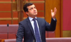 Sam Dastyari gives a speech in the Senate