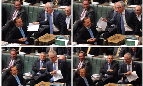 Sequence of Prime Minister Tony Abbott listening to Communications minister Malcolm Turnbull during House of Representatives Question Time at Parliament House in Canberra, We