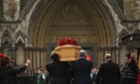 The coffin of the late Tony Benn is carried into the grounds of Westminster Abbey and St Margaret's Church for his funeral today.