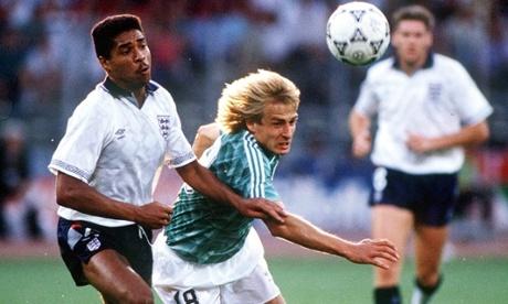 Des Walker keeps close tabs on Jürgen Klinsmann.