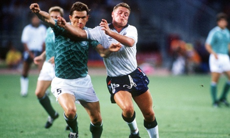 Paul Gascoigne battles for the ball with West Germany's Klaus Augenthaler.