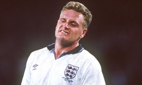 England's Paul Gascoigne. Banned if England progress.