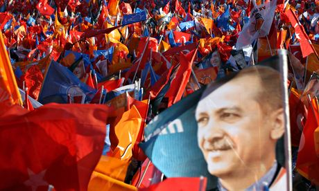 Supporters of Turkey's prime minister, Recep Tayipp Erdogan, during an election rally in Ankara