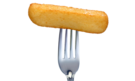 potato chip on fork