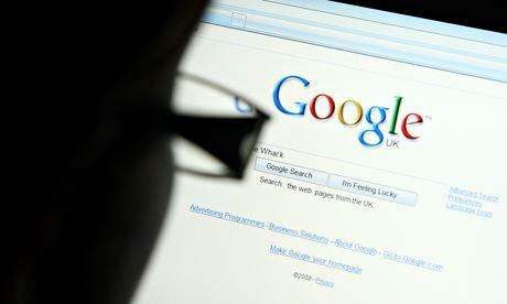 Man looking at a Google webpage