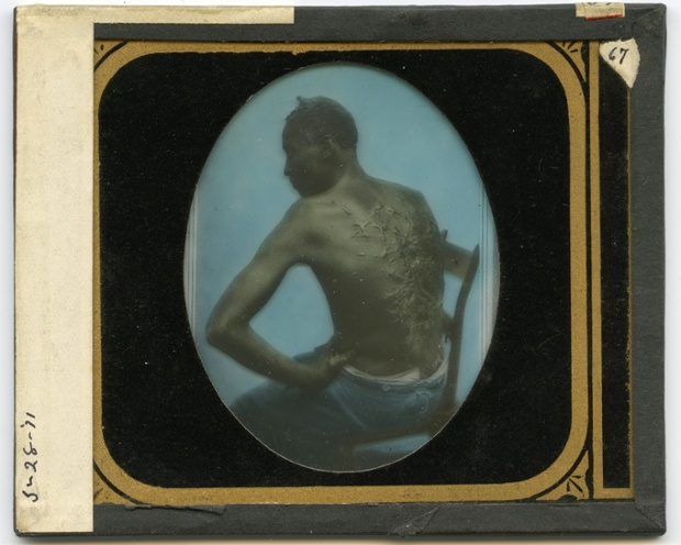 A hand coloured glass slide copy of a carte de visite from 1863