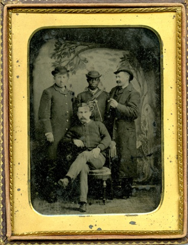 A tintype of a group of anonymous men, 1880s.