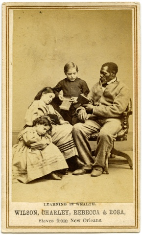 "Carte de visite inscribed with ""Learning is Wealth"" by Charles Paxson (New York), 1864."