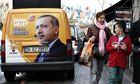 Van with poster of Recep Tayyip Erdogan