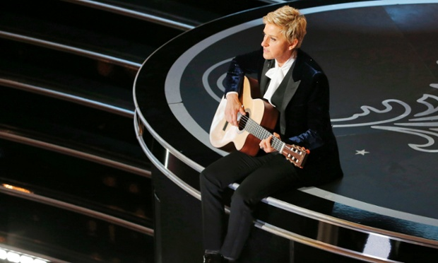 Ellen DeGeneres performing at the 86th Academy Awards