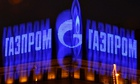 The company logo of Russian natural gas producer Gazprom