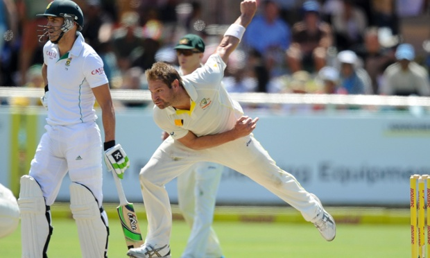 Australia's Ryan Harris bowls on the third day of the third Test against South Africa in Cape Town.