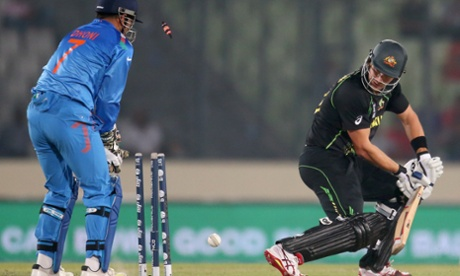 Shane Watson's poor batting form continues as he is bowled by Mohit.