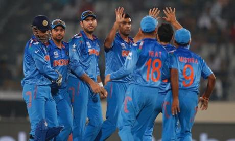 Indian spin bowler Ravichandran Ashwin celebrates after taking another Australian wicket.