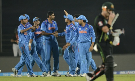 India, seen celebrating after David Warner was dismissed, have won all four of their Group 2 games.