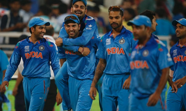 India's Yuvraj Singh, second left, carries teammate Virat Kohli on his back as they celebrate their win over Australia.