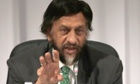 Chairman of the Intergovernmental Panel on Climate Change (IPCC) Rajendra K. Pachauri speaks during a press conference in Yokohama