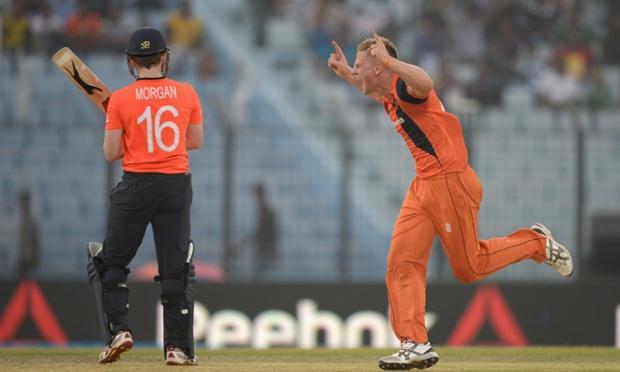 Timm van der Gugten of the Netherlands celebrates dismissing Eoin Morgan.