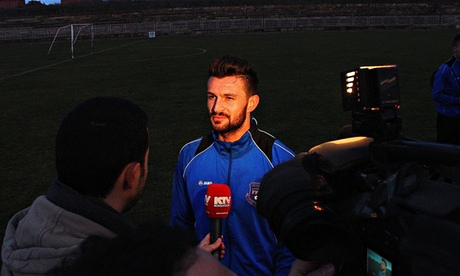 The Kosovo national team talk to the media ahead of their first match against Haiti.