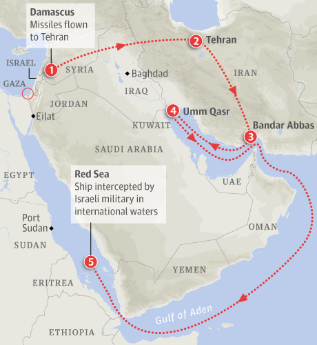 Map – Missile shipment intercepted in Red Sea