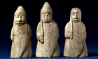 Three of the Lewis Chessmen, discovered on Lewis, Scotland, and thought to originate from Norway, AD