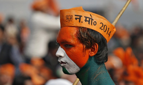 A BJP supporter at the Meerut rally.