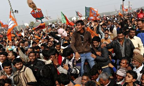 Supporters of Mori at the Meerut rally.