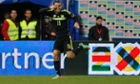 Spain's Pedro celebrates after scoring against Italy.