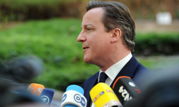 David Cameron arriving in Brussels for an emergency summit on Ukraine. He will be holding a press conference later.