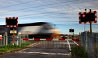 A level crossings with a train going through