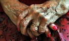 The hands of an elderly woman