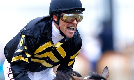 Gary Stevens celebrates after winning Preakness