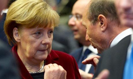 Angela Merkel at the talks in Brussels.