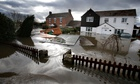Flooded houses in the Somerset Levels
