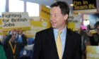 Nick Clegg arriving at the Lib Dem spring conference at the Barbican Centre in York.