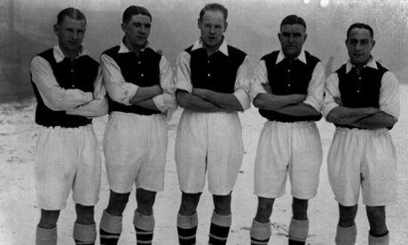 Cliff Bastin, Ted Drake, George Male, Eddie Hapgood and Wilf Copping model Arsenal's famous red kit (pictured here in black and white)