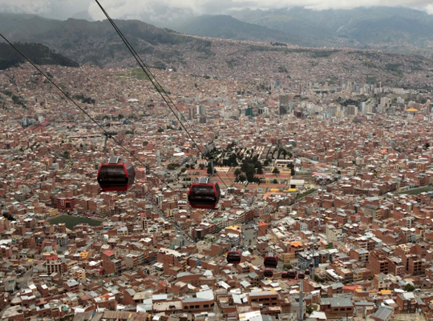 The new cable car system linking the Bolivian city of La Paz with neighbouring El Alto.
