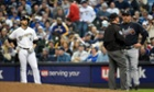 Atlanta Braves manager Fredi Gonzalez challenged a call by first base umpire Greg Gibson that Milwaukee Brewers' Ryan Braun was safe in the opening day game at Miller Park. The call was reversed and Braun was called out after umpires reviewed instant replay.