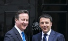 David Cameron greets Italian Prime Minister Matteo Renzi at Number 10 Downing Street.