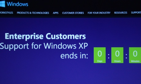 A screen showing the countdown to the end of support for Windows XP.