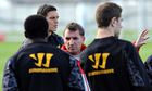 Brendan Rodgers with his Liverpool players during a training session to face Manchester City