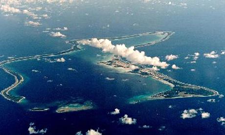 The US navy support base at Diego Garcia, the British Indian Ocean Territory.
