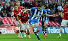 Wigan Athletic's Jordi Gómez scores from the penalty spot in the FA Cup semi-final against Arsenal