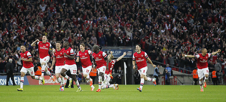 FA Cup semi: Arsenal players run to celebrate