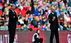 Wigan manager Uwe Rösler and Arsenal's manager Arsène Wenger gesture from the touchline at Wembley