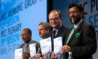 IPCC Working Group III co-chairs Youba Sokona, Ramon Pichs-Madruga, Ottmar Edenhofer and chairman Rajendra Pachauri (L-R) attend a news conference to present Working Group III's summary for policymakers at The Intergovernmental Panel on Climate Change (IPCC) in Berlin.